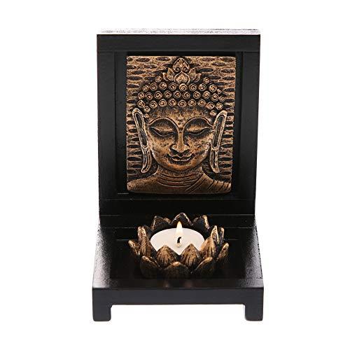 Prime Feng Shui Praying Buddha Spirit Tablet with Candlestick Tealight Lotus Holder Vairocana Buddha Figurine Home Decor Statue(G)