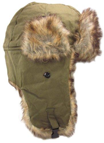 Dakota Dan Winter Trooper Hat with Faux Rabbit Fur Olive - One Size Fits Most