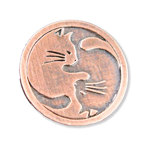 Creative Pewter Designs Yin Yang Cats Pet Copper Plated Lapel Pin, Brooch, Jewelry, GC061