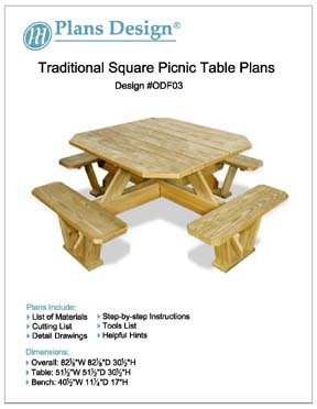 Traditional Square Picnic Table / Benches Woodworking Plans, #ODF03 from Plans Design