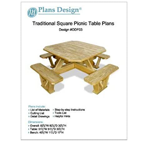 Traditional Square Picnic Table Benches Woodworking Plans Odf03 Outdoor Furniture Woodworking Project Plans Amazon Com