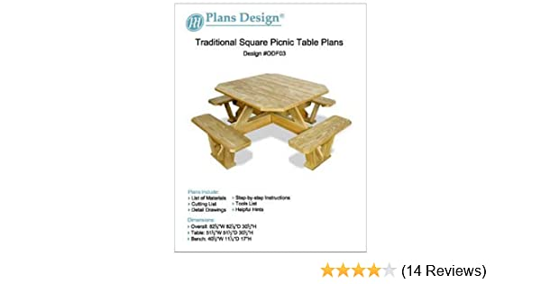 Traditional Square Picnic Table / Benches Woodworking Plans, #ODF03    Outdoor Furniture Woodworking Project Plans   Amazon.com