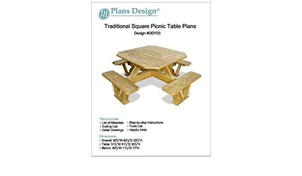 Marvelous Traditional Square Picnic Table Benches Woodworking Plans Beutiful Home Inspiration Aditmahrainfo