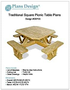 Traditional Square Picnic Table Benches Woodworking Plans Odf03 Outdoor Furniture Project Amazon Com
