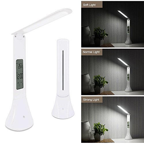 (LED Desk Lamp, Study Table Lamp, Dimmable Eye-caring Reading Light with 3 Brightness Levels, Alarm & Snooze Function, Calendar Displays Date & Time & Temperature, USB Rechargeable, Touch Control )