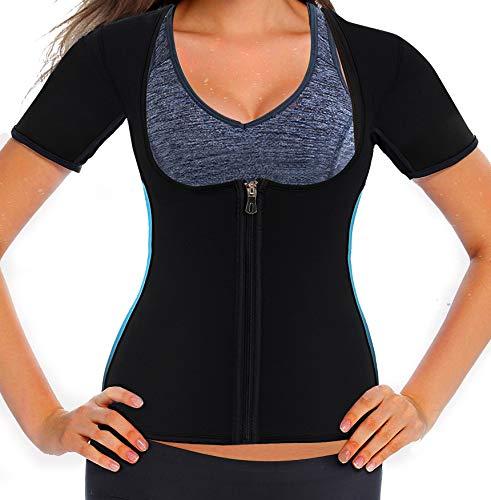 e5cd91d316 Women Neoprene Sauna Sweat Waist Trainer Vest for Weight Loss Gym Workout  Hot Body Shaper Tank Top Shirt with Zipper Plus (XX-Large