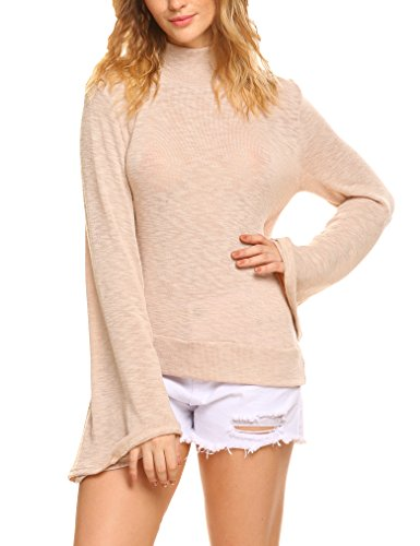 Flare Turtleneck (Naggoo Women's Turtleneck Flare Sleeve Backless Knitted Sweater Pullover Tops)