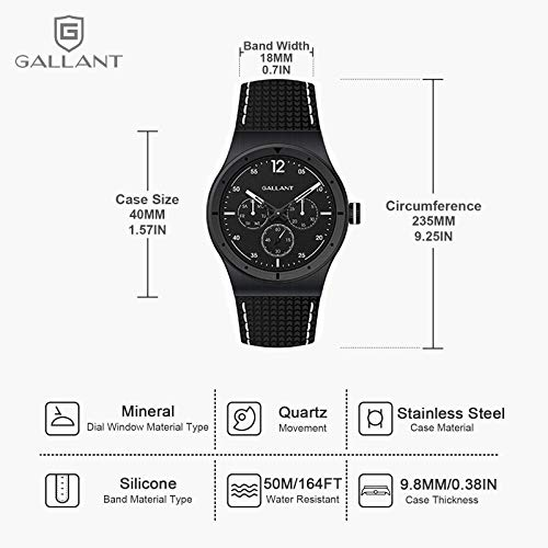 Mens Stainless Quartz Watch with Silicone Strap Unisex Watch 40mm Casual Watch for Men Waterproof Calendar Black Mens Watch Stylish Couple Gift, Black