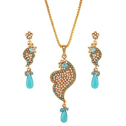 Variation Blue & White Stone Designer Pendant Set For Women (VD15964)