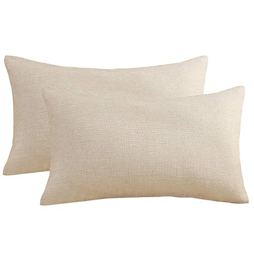 (Sunday Praise Cotton-Linen Decorative Throw Pillow Covers,Classical Square Solid Color Pillow Cases,12x20 Inches Cushion Covers for Sofa Couch Bed&Car,Pack of 2 (Beige))