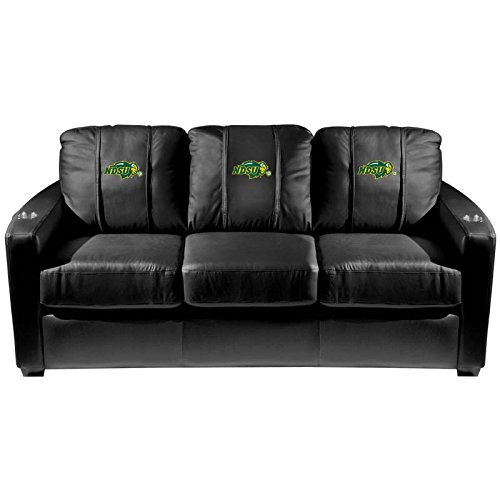 XZipit College Silver Sofa with North Dakota State Bison Primary Logo Panel, Black