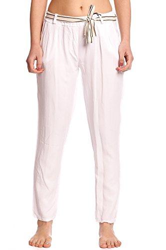 Abbino 1340 Pantalones para Mujer - Hecho en ITALIA - 3 Colores - Entretiempo Primavera Verano Otoño Moderno Fashion Elegantes Flexible Sensibilidad Rebajas Clásico Algodón Atractivo Cordón Blanco