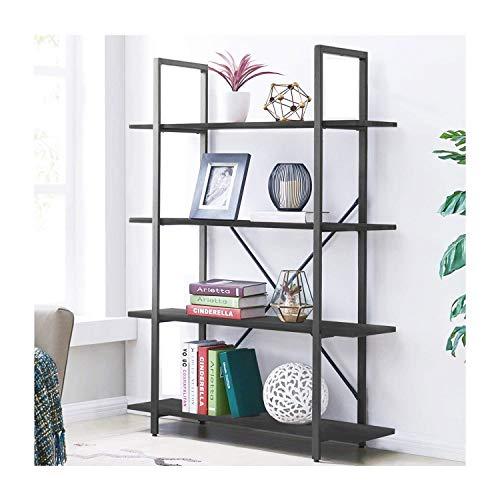 - Elevens 4-Tier Open Shelf, Industrial Vintage Standing Storage Units, Black