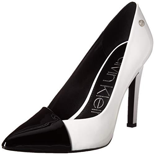 Calvin Klein Women's BRONIA Pump Black/Platinum White Patent Smooth 11 M US Black White Stiletto Heel Shoe