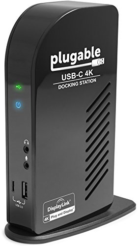 Plugable USB-C 4K Triple Display Docking Station with Charging Support for Specific Windows USB C and Thunderbolt 3 Systems (1x HDMI and 2X DisplayPort++ Outputs, 5X USB Ports, 60W USB PD) (Surface Pro 4 Plugged In Not Charging)