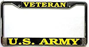 us army veteran license plate frame chrome metal