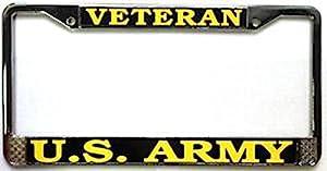 us army veteran license plate frame chrome metal