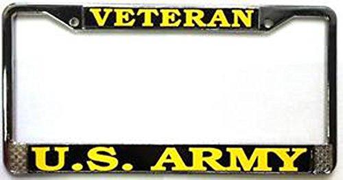 US Army Veteran License Plate Frame (Chrome Metal) Veteran Metal