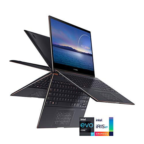 "ASUS ZenBook Flip S Ultra Slim Laptop, 13.3"" 4K UHD OLED Touch Display, Intel Evo Platform - Core i7-1165G7 CPU, 16GB RAM, 1TB SSD, Thunderbolt 4, TPM, Windows 10 Pro, Jade Black, UX371EA-XH77T"