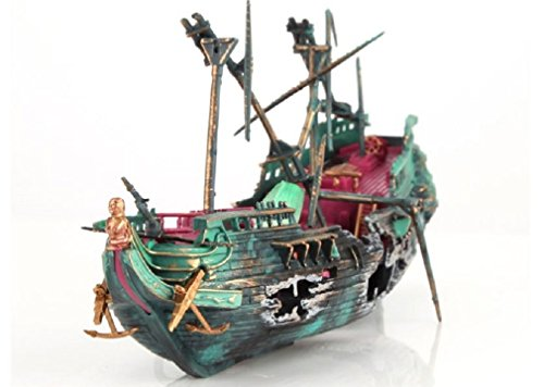 Sunk Wreck Boat Aquarium Ornament Ship Sailing Boat Destroyer Air Split Shipwreck Fish Tank Cave Décor