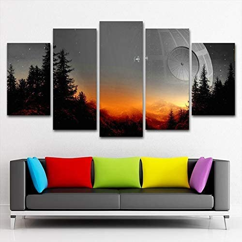 Modular Canvas Pictures Wall Art Framed 5 Pieces Star Wars Tree Death Star Painting Living Room Prints Movie Poster Home Decor 16x24in*2 16x32in*2 16x40in*1 Frame