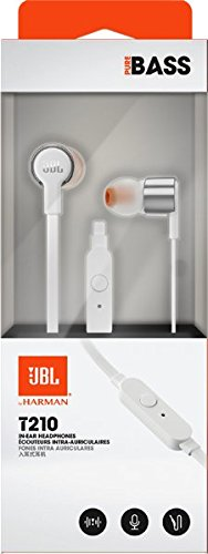 JBL T210 - Auriculares Intraaurales con el Potente Sonido Pure Bass de JBL, Plata/Blanco: Amazon.es: Electrónica