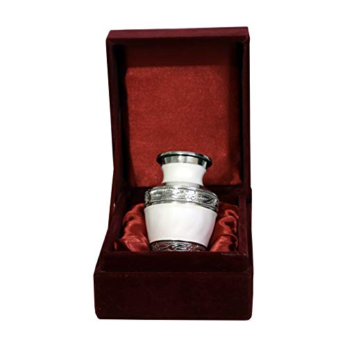 (THE ASCENT MEMORIAL Pearl White Small Keepsake Urns - Mini Cremation Memorial Urns with Gift Box, Velvet Carry Bag and Funnel - Funeral Cremation Urns Small for Human Ashes)