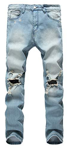 Qazel Vorrlon Men's Slim Fit Light Blue Stretch Destroyed Ripped Skinny Denim Jeans W34,Light Blue-1