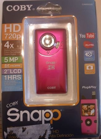 Coby Snapp HD Camcorder with 2-inch LCD Electronic Viewfinder and 720p HD Resolution Pink