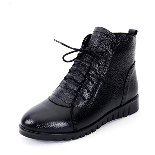 ChyJoey Women's Winter Flat Zipper Ankle Booties Warm Fur Round Toe Lace Up Soft Leather Short Snow Boots