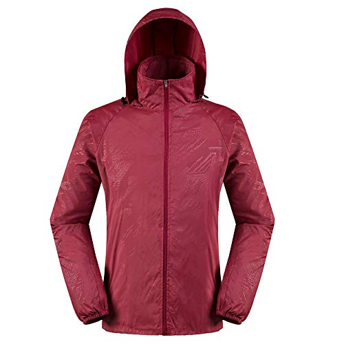 vermers Men Women Lightweight Jackets Outerwear Casual Waterproof Windbreaker Jacket Running Hooded Coat(3XL, Red) ()