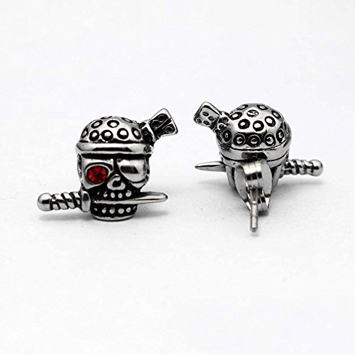 kaige Titanium Steel skull Bite Sword ear Nail Earring Earrings Anti Allergy birthday gift send friend 16mm12mm European and American style fashion earrings