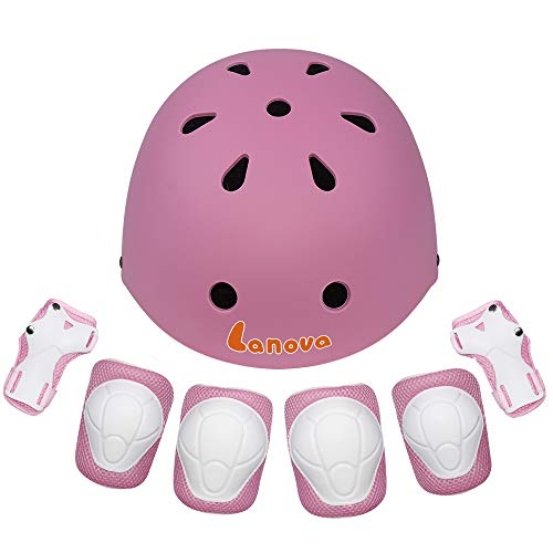 Lanova Toddler Helmet for 3-8 Years Kids Helmet Knee Elbow Pads Wrist Guards Adjustable Bike Skating Skateboard Helmet for Kids - Micro Mini Helmet