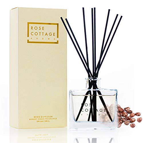 Rose Cottage Coffee Scent Reed Diffuser Set for Home Bedroom Living Room Office Gift Idea 100ML/3.4oz