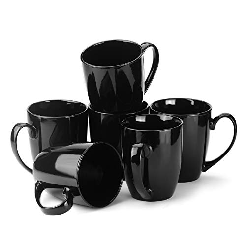 - MECOWON 13 OZ Porcelain Mugs, Set of 6, Tea and Coffee Mugs, Black