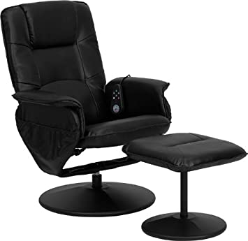 Black Leather Heated Massaging Recliner with Leather Wrapped Bases Ottoman 753