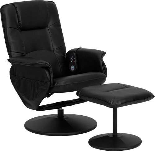 Flash Furniture Massaging Black Leather Recliner and Ottoman with Leather Wrapped Base Black Home Massage Chairs
