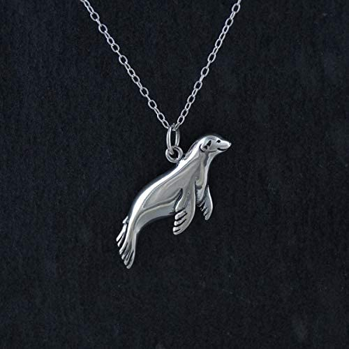 Harbor Seal Necklace for Women and Girls Silver Charm Pendant Jewelry