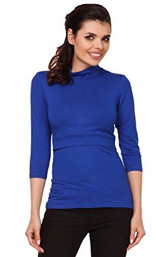 Zeta Ville - Premamá Top de lactancia a capas - cuello alto - para mujer - 987c Azul Real