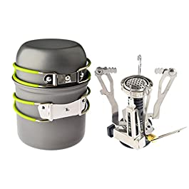 Petforu Camp Stove, Ultralight Portable Outdoor Camping Stove Hiking Backpacking Picnic Cookware Cooking Tool Set Pot Pan & Piezo Ignition Canister Stove