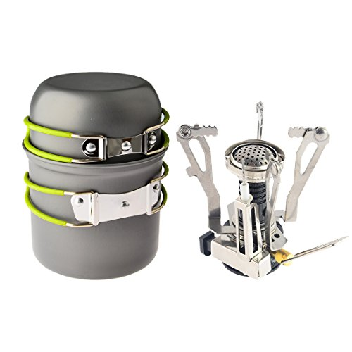 Camp Stove,Petforu Outdoor Camping Stove Cookware Hiking Backpacking Picnic Cookware Cooking Tool Set Pot Pan + Piezo Ignition Canister Stove Propane Canister (Backpack Stove Cooking)