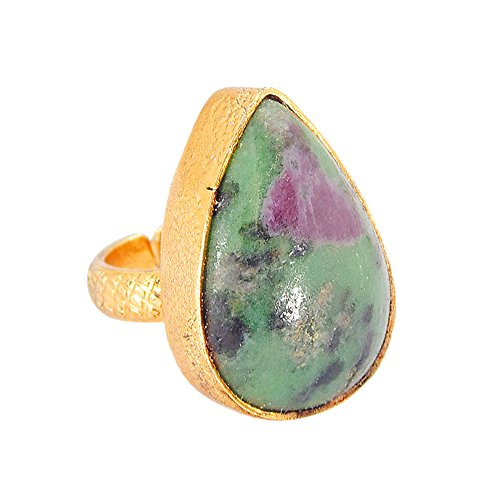 24k Gold Vermeil Pear Shape Ruby Zoisite Gemstone Delicate Brass Ring For Wedding Gift