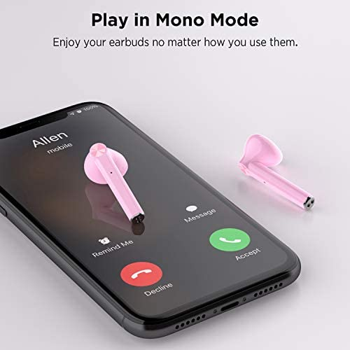 LETSCOM Wireless Earbuds, Bluetooth 5.0 Earbuds in Ear True Wireless Stereo Headphones, 20Hrs Playtime with Charging Case, Bluetooth Earbuds with Built-in Microphone for Sports and Work - Pink