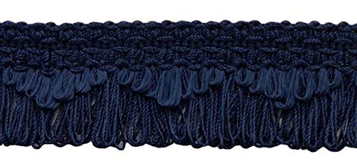 DÉCOPRO Decorative Dark Navy Blue Scalloped Loop Fringe/Braid, 1 3/8 Inch, 12 Yard Value Pack, Style# 9115 Color: J3 (M52) (36 Ft / ()