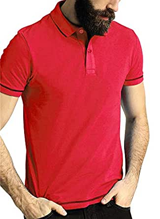 Santhome Red Shirt Neck Polo For Men