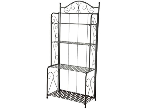 4-Tier Iron Indoor/Outdoor Bakers Rack (Antique Black)