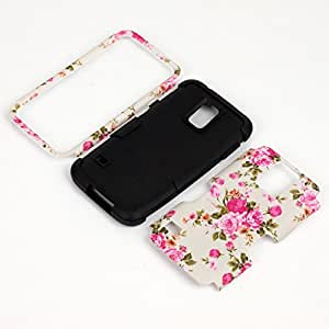 Galaxy S5 Case,Samsung Galaxy S5 Cases,Cover for Galaxy S5,Carryberry Beatiful Flower Pattern 3 in 1 Hybrid Case for Samsung Galaxy S5,Black