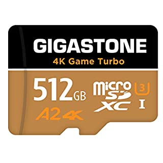 Gigastone 512GB Micro SD Card, 4K UHD Game Turbo, Nintendo Switch Compatible, Read/Write 100/80 MB/s, A2 App Performance, UHS-I U3 C10 Class 10 Memory Card, with [5-Yrs Free Data Recovery]