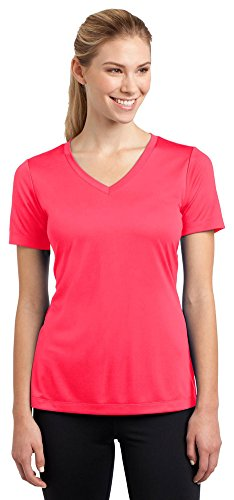 Hot Coral Apparel - Sport-Tek Ladies V-Neck Competitor Tee, M, Hot Coral