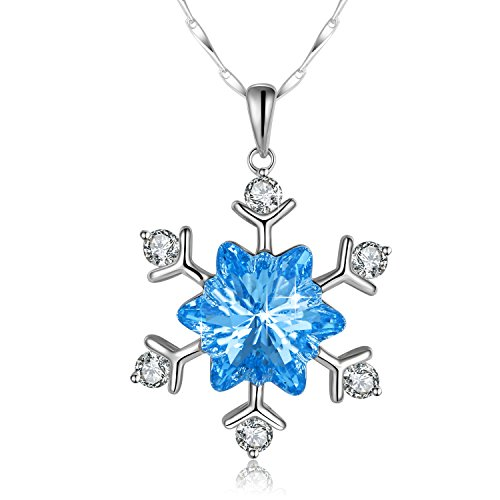 Blue Snowflake Necklace PLATO H Snow Flower Pandent Necklace With Swarovski Crystals 925 Sterling Silver Pendant Necklace, Bridesmaid Necklace Christmas Party Prom Jewelry, Birthday Christmas Gift